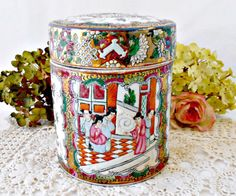 Chinese Famille Rose Porcelain Jar, Tea Canister and Cover, Tobacco Jar, Gold Guild, Enamel Hand Painted Chinese Figures Mother's Day Gift by GSaleHunter on Etsy https://www.etsy.com/listing/225555649/chinese-famille-rose-porcelain-jar-tea