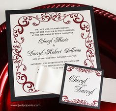wedding invitation silver black wine red wedding by jwdpaperie