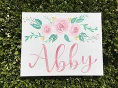 Custom Canvas Baby Girl Name Sign Nursery Decor Nursery Baby Canvas, Kids Canvas, Diy Canvas Art, Custom Canvas, Canvas Ideas, Quote Canvas, Nursery Signs, Nursery Decor, Bedroom Decor