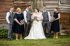 Bridal party in front of old barn, Montville. www.lanicarter.com