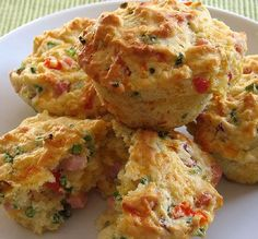 Ham & Cheese Buttermilk Breakfast Muffins - great for breakfast on the go!    from Sweet & Saucy.
