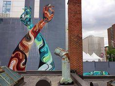 Street art by Reka in Montreal, Canada 3d Street Art, Urban Street Art, Best Street Art, Street Artists, Urban Art, Graffiti Art, Urban Graffiti, Blog Art, Australian Artists