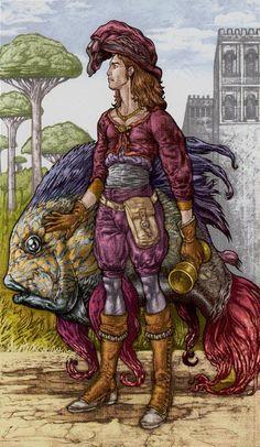 Le valet de coupes - Universal Fantasy Tarot par Paolo Martinello
