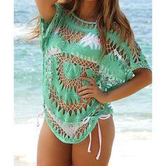 082d9e9969807 Sexy Jewel Neck Openwork Dolman Sleeve Bikini Cover-Up Beach Covers