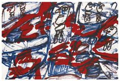 Jean Dubuffet (French, 1901-1985), Site aléatoire avec 6 personnages, 1982. Acrylic on paper laid down on canvas, 67.5 x 100 cm.