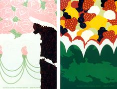 2 of Steve Frykholm's amazing and playful Picnic Posters for Herman Miller's annual summer employee picnics: LEFT: 1978 Cake Poster RIGHT: 1977 Fruit Salad Poster