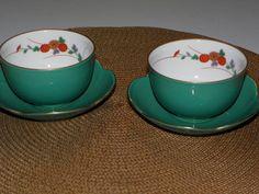 Vintage Koransha Jade Green Japanese Tea Cup Set