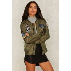 Patch Me on the Flipside Bomber Jacket ($98) ❤ liked on Polyvore featuring outerwear, jackets, green, multi color jacket, patch jacket, brown bomber jacket, bomber style jacket and green bomber jacket