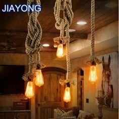 Vintage Rope Pendant Light Lamp Loft Creative Personality Industrial Lamp Edison…