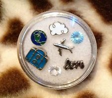 Lot 7 Pcs Traveler Floating Charm Set Fits In Glass Living Memory Locket