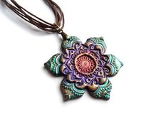 Mandala flower necklace, colorful polymer clay yoga jewelry, teal purple copper, India on Etsy, $19.00