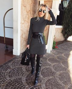 For Lovers of Tights and Boots Mini Skirt Dress, Mini Skirts, Classy Outfits, Cute Outfits, Tights And Boots, Heel Boots, Ootd, Thigh High Boots, Fashion Models