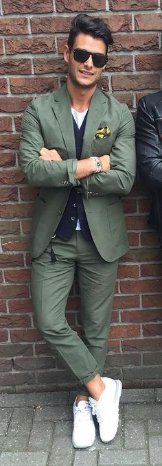 Men's green suit