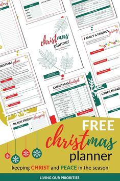FREE Printable Christmas Planner Keeping Christ and peace in the season. Christmas Planner Free, Christmas On A Budget, Free Christmas Printables, Christmas Activities, Free Printables, Work Planner, Notebook Organization, Christian Resources, Scripture Cards