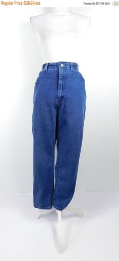 e2c2b6bd SHOP SALE Vintage 1990s 90s Authentic Lee Dark Blue Denim High Waist  Elastic Stretch Waist Mom Jeans Pants Sz 16/Xl Plus Size