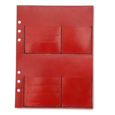 KAKURA/LEATHER CARD POCKET レッド 6300yen システム手帳に追加する便利なカードポケットにレッドが新登場!