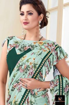 Green Shaded Lycra Half and Half Pre Stitched Printed Fancy Saree with Ruffle Border Saree Blouse Neck Designs, Saree Blouse Patterns, Designer Blouse Patterns, Bridal Blouse Designs, Skirt Patterns, Coat Patterns, Sewing Patterns, Simple Blouse Pattern, Simple Blouse Designs