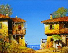 Bulgarian artista pintura Bonci Asenov.Starye casa.