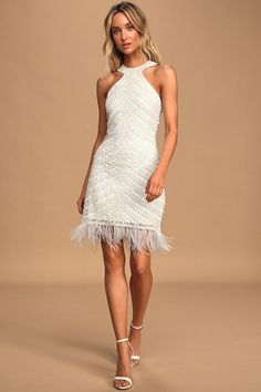 Stun your date in the Lulus Feather Together White Beaded Halter Mini Dress! Beaded, sequin bodycon mini dress with a halter neckline and feather-trimmed hem. Cute White Dress, White Boho Dress, White Halter Dress, Sequin Mini Dress, White Maxi Dresses, Pretty Dresses, Shower Dress For Bride, Shower Dresses, Shower Outfits
