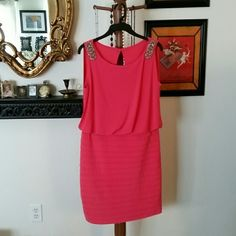 Collection Dressbarn Pink Dress. Size 10. Collection Dressbarn Pink Dress. Size 10. Beaded design at shoulders. Stretchy. Great condition. Dresses Midi