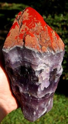 Auralite crystals are structured layers of phantomed chevrons composed of three base quartz species, Amethyst, Citrine, Smokey Quartz, and a rare form of metamicted green quartz