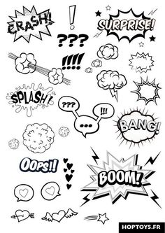 These comic effects will be added to enhance the characters emotions. Eg: The cl… These comic effects will be added to enhance the characters emotions. Eg: The close up of the shocked Kia Si will have the Exclamation marks pop up by the eyes. Doodle Drawings, Doodle Art, Letras Comic, Doodles, Sketch Notes, Bullet Journal Inspiration, Pop Art, Comic Books, Comic Art