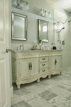 The Comforts of Home - French Vanity with marble top.  I love this vanity!