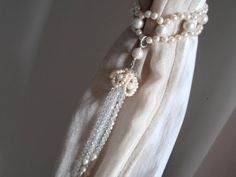 SET OF 2 handmade decorative curtain tiebacks faux pearls, clear glass crystals  tassels drapery holders - tie backs curtain