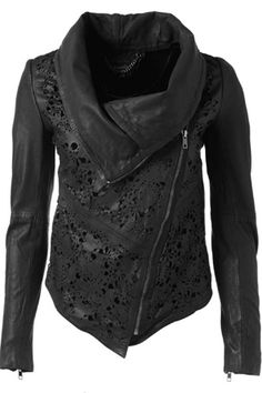 Lace leather jacket. Leesha! Lol. I can't tag from my phone. Lol - Click image to find more Women's Fashion Pinterest pins