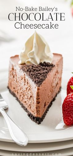 No-Bake Baileys Chocolate Cheesecake with a chocolate cookie crust – Kuchen und Torten – desserts Party Desserts, No Bake Desserts, Delicious Desserts, Dessert Recipes, Baileys Cheesecake, No Bake Chocolate Cheesecake, Baileys Cake, Raspberry Cheesecake, Chocolate Frosting