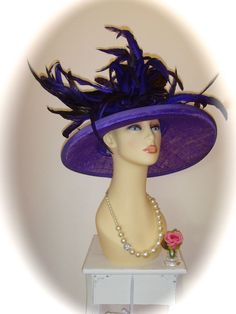 Presen Hat, Purple and Black, Weddings Races Ladies Formal