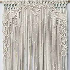 Now that her new owner has seen her, I can show her off! This is my first Macrame door curtain, and first time trying the Macrame Design, Macrame Art, Macrame Projects, Macrame Knots, Macrame Wall Hanging Patterns, Macrame Patterns, Floral Patterns, Rideaux Design, Macrame Curtain