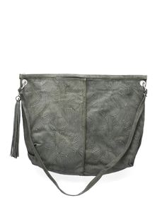 Shopping bag in suede printed foliage, with zip closure and detachable shoulder strap by #Almala
