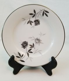 Noritake China Rosamor 5851 S Bread/Butter Plate Replacement Discontinued Bread N Butter, White Bodies, Noritake, Fine China, Pattern Design, Black And Grey, Decorative Plates, Tableware, Vintage