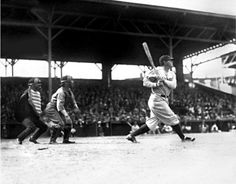 Babe Ruth at bat.  Oriole Park, Baltimore,  1931.  Robert Kniesche (1906-1976).  Kniesche Collection.  Maryland Historical Society,  PP79.40.  Although seen here batting for the New York Yankees, Babe Ruth began his career with the Baltimore Orioles. George Herman Ruth, Jr., or Babe Ruth, was born in Baltimore at 216 Emory Street, a rowhouse which was saved from demolition and is now the Babe Ruth Birthplace and Museum.
