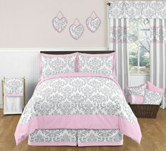 pink and grey quilts | Elizabeth Pink and Gray Damask Bedding 3 Pc Full/Queen Set
