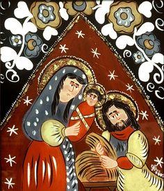 """Na szkle malowane"" Jolanty Pęksy Virgin Mary, Naive, Folk Art, Coloring Pages, Icons, Amazing, Glass, Christmas, Painting"