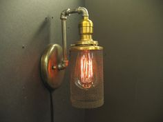 7737 Industrial Screen Shade Sconce on Iron by steampunklighting, $195.00