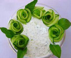I assume this is cucumber-yogurt stuff, similar to caçik. It's so pretty!