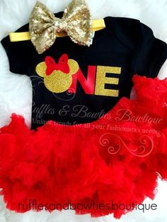 A classic take on our famous Minnie Mouse themed first bithday shirt. This one of a kind shirt is made from the softest and most comfy material out there. It has the word 'ONE' written on it with red