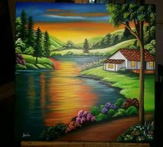 Nature Paintings, Beautiful Paintings, Beautiful Landscapes, Landscape Paintings, Costa Rica Art, Cottage Art, Some Beautiful Pictures, Galaxy Painting, Autumn Painting
