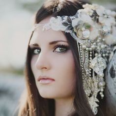 Grecian bridal shoot featuring the most unique & intricate headpiece & bouquet handmade by the bride.