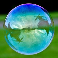 Bubble with reflection of windmill
