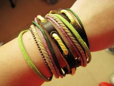 Soft Leather Multicolour Ropes Men or Women Leather Bracelet Wristband Cuff Bracelet by accessory365, $8.50