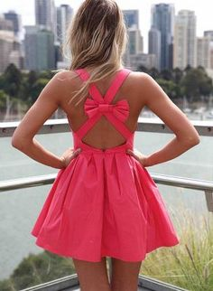 Pink Sleeveless Mini Dress with Open Cross Bow Back,  Dress, bow back  mini dress, Chic