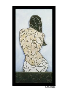 Female Nude Mosaic Print Modern Home Decor Giclee Art Mosaic Tile Art, Mosaic Artwork, Mosaic Diy, Mosaic Art Projects, Mosaic Portrait, Paint Background, Marble Art, Mosaic Designs, Stained Glass Patterns