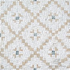 Orson, a hand-cut mosaic shown in Shell, honed Thassos, Gold Glass and polished Calacatta Pennyrounds, is part of the Aurora® collection by New Ravenna. Stone Mosaic, Stone Tiles, Ravenna Mosaics, New Ravenna, Walking The Plank, Wood Tile Floors, Gold Glass, Tile Patterns, Home Decor Styles