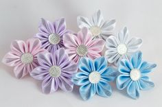 Elastic band for hair silver scrunchies kanzashi от myflowersshop