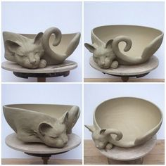 "12""unfired white earthenware custom Cat yarn bowl. Custom orders via earthwoolfire.etsy.com"