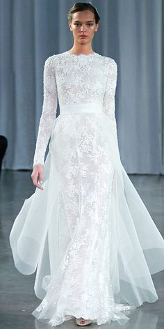 Monique Lhuillier Long-Sleeve Lace Gown With Tulle Train